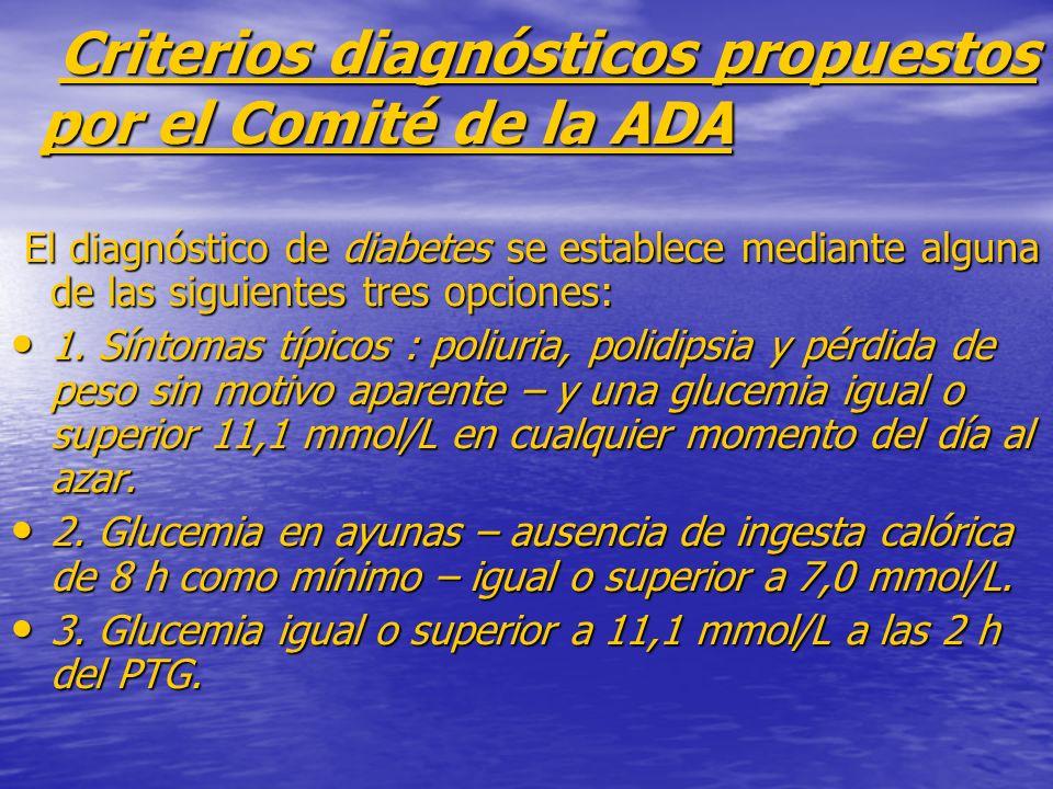 Criterios diagnósticos propuestos por el Comité de la ADA Criterios diagnósticos propuestos por el Comité de la ADA El diagnóstico de diabetes se esta