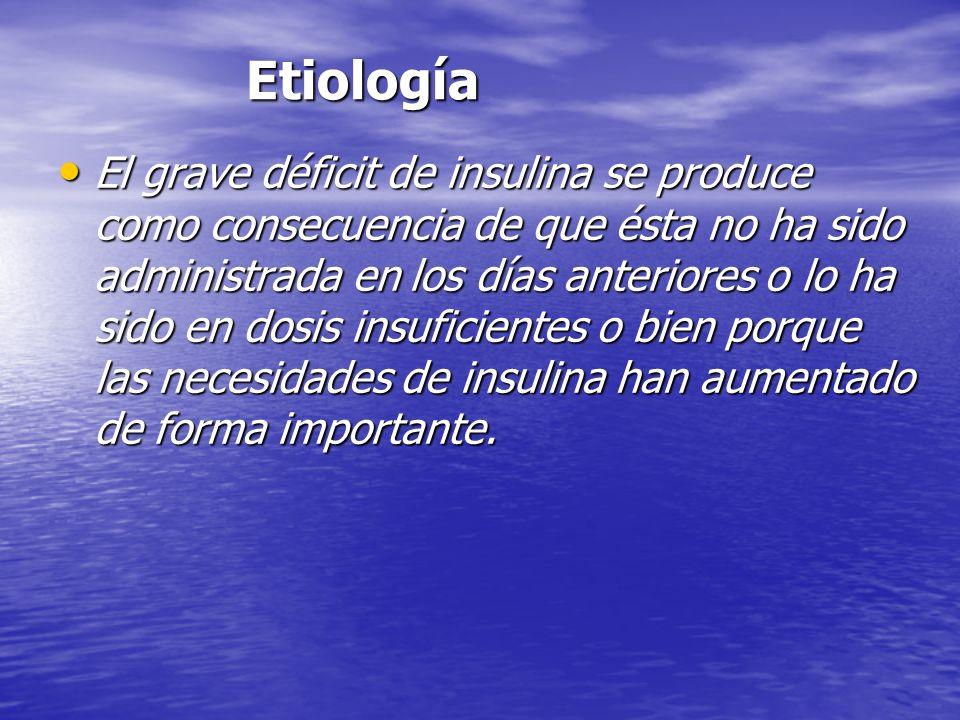 Etiología Etiología El grave déficit de insulina se produce como consecuencia de que ésta no ha sido administrada en los días anteriores o lo ha sido