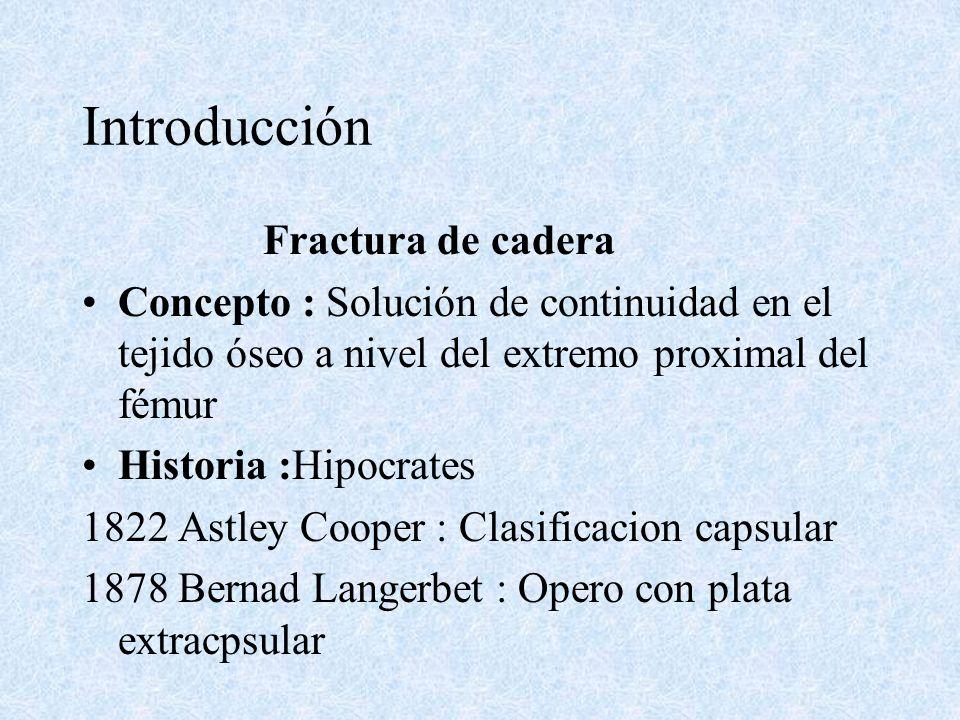 Introducción Fractura de cadera Concepto : Solución de continuidad en el tejido óseo a nivel del extremo proximal del fémur Historia :Hipocrates 1822 Astley Cooper : Clasificacion capsular 1878 Bernad Langerbet : Opero con plata extracpsular