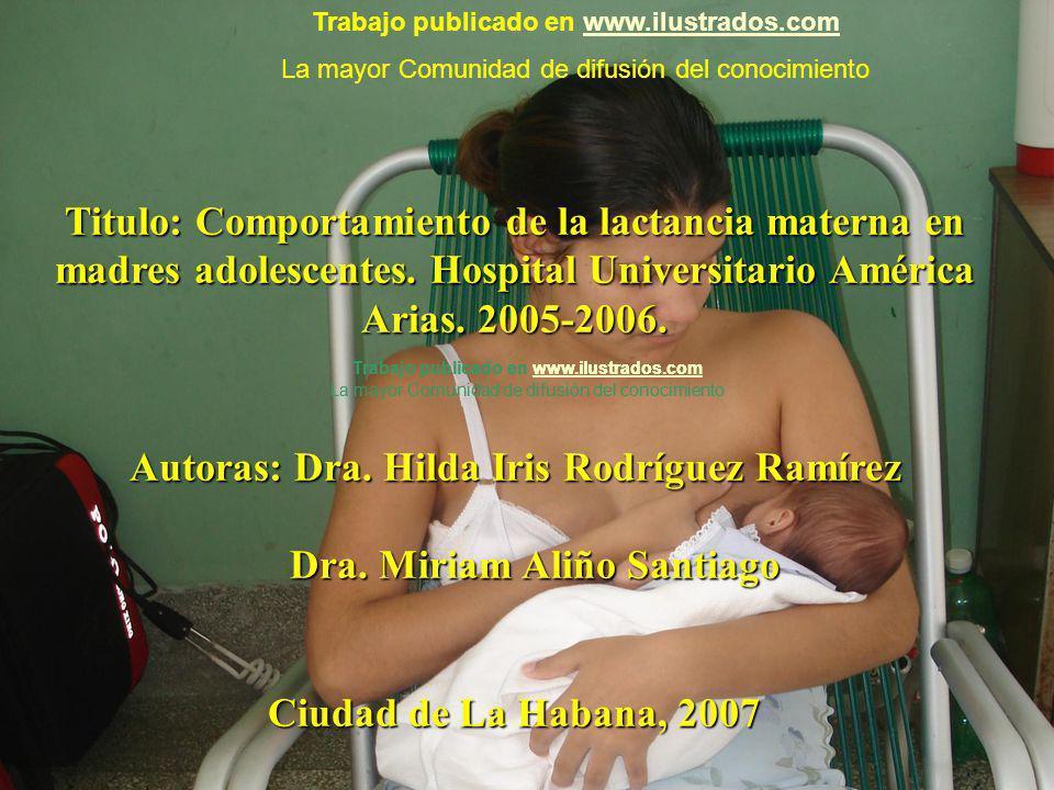 Titulo: Comportamiento de la lactancia materna en madres adolescentes. Hospital Universitario América Arias. 2005-2006. Autoras: Dra. Hilda Iris Rodrí