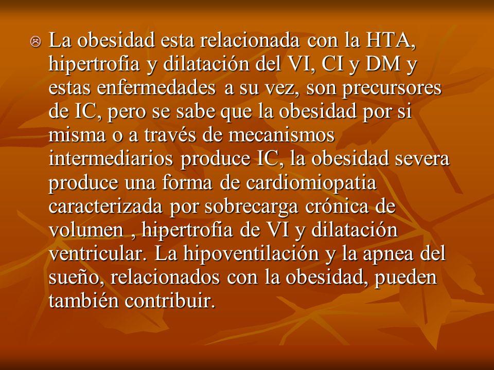 La obesidad esta relacionada con la HTA, hipertrofia y dilatación del VI, CI y DM y estas enfermedades a su vez, son precursores de IC, pero se sabe q