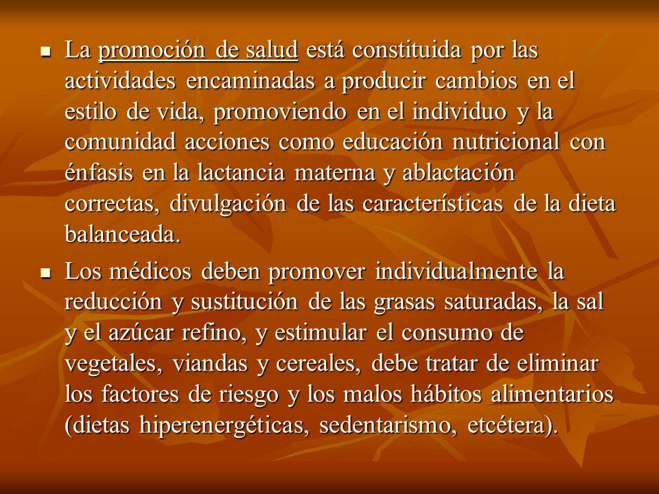 La promoción de salud está constituida por las actividades encaminadas a producir cambios en el estilo de vida, promoviendo en el individuo y la comun