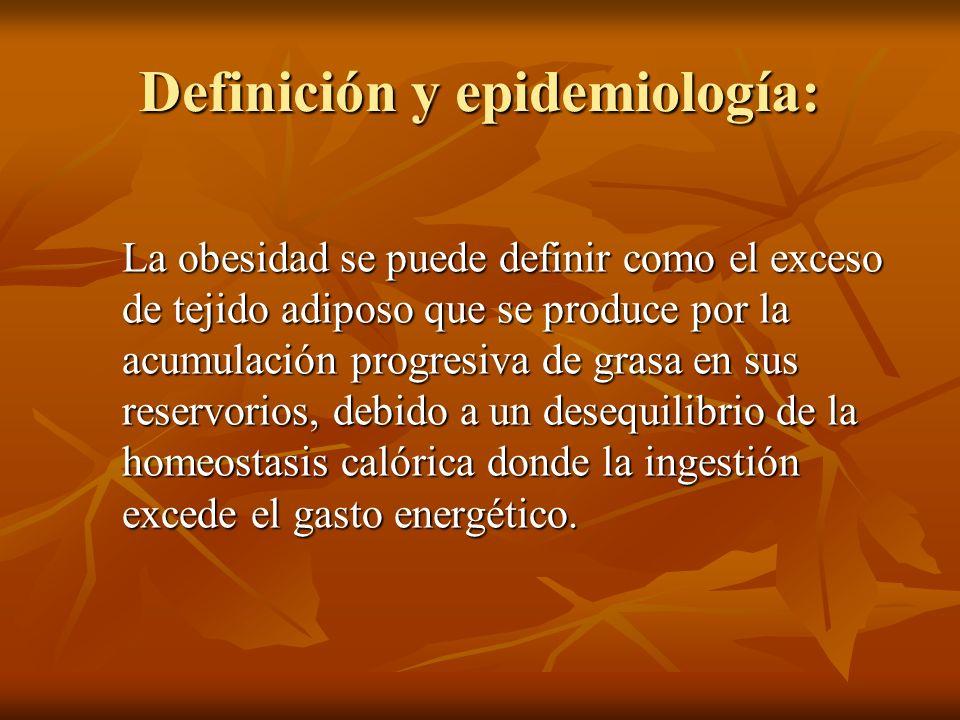 Definición y epidemiología: La obesidad se puede definir como el exceso de tejido adiposo que se produce por la acumulación progresiva de grasa en sus