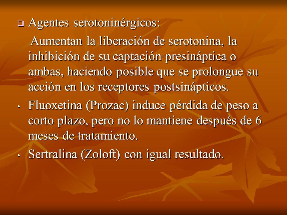 Agentes serotoninérgicos: Agentes serotoninérgicos: Aumentan la liberación de serotonina, la inhibición de su captación presináptica o ambas, haciendo