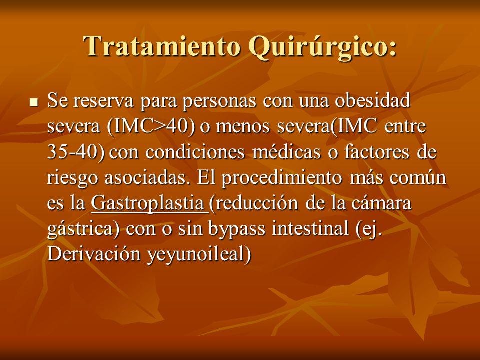 Tratamiento Quirúrgico: Se reserva para personas con una obesidad severa (IMC>40) o menos severa(IMC entre 35-40) con condiciones médicas o factores d