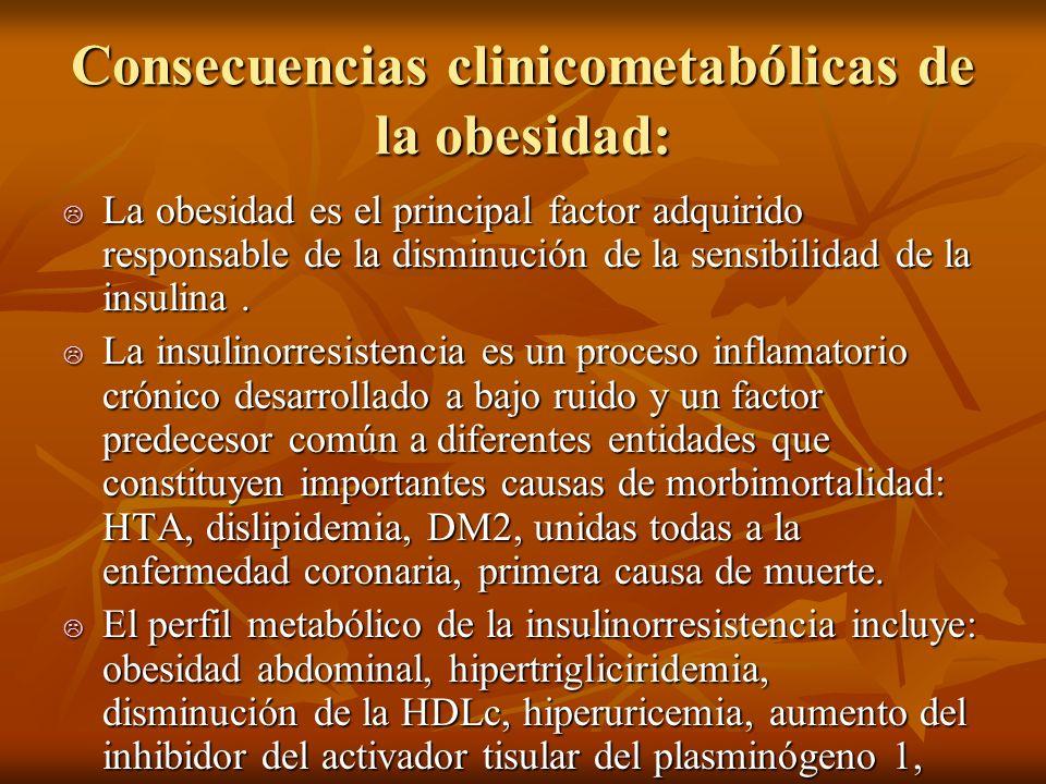 Consecuencias clinicometabólicas de la obesidad: La obesidad es el principal factor adquirido responsable de la disminución de la sensibilidad de la i