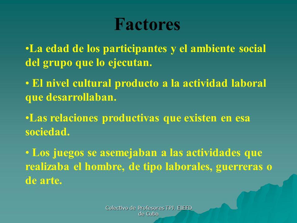 Colectivo de Profesores TPJ. EIEFD de Cuba Factores La edad de los participantes y el ambiente social del grupo que lo ejecutan. El nivel cultural pro