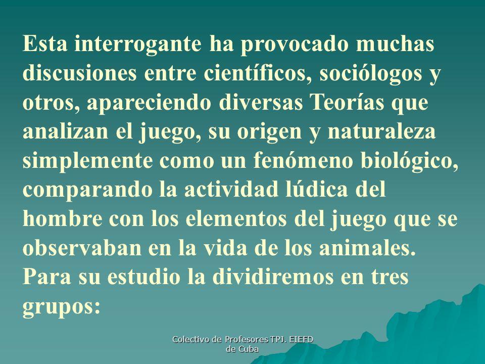 Colectivo de Profesores TPJ. EIEFD de Cuba Esta interrogante ha provocado muchas discusiones entre científicos, sociólogos y otros, apareciendo divers