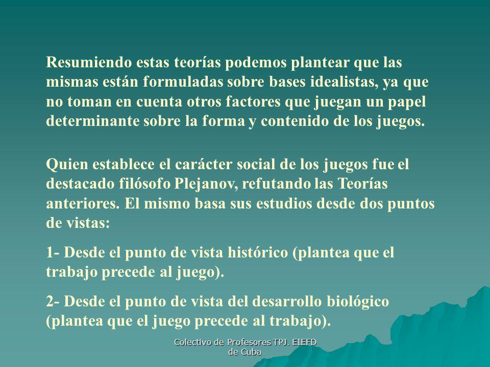 Colectivo de Profesores TPJ. EIEFD de Cuba Resumiendo estas teorías podemos plantear que las mismas están formuladas sobre bases idealistas, ya que no