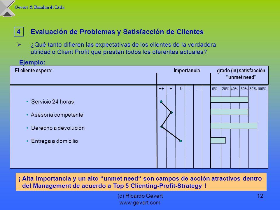 (c) Ricardo Gevert www.gevert.com 12 4Evaluación de Problemas y Satisfacción de Clientes ¿Qué tanto difieren las expectativas de los clientes de la ve