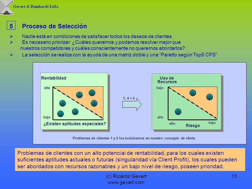 (c) Ricardo Gevert www.gevert.com 13 5Proceso de Selección Nadie está en condiciones de satisfacer todos los deseos de clientes Es necesario priorizar