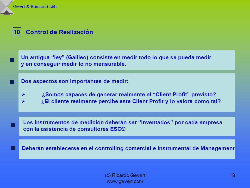(c) Ricardo Gevert www.gevert.com 18 Dos aspectos son importantes de medir: ¿Somos capaces de generar realmente el Client Profit previsto? ¿El cliente