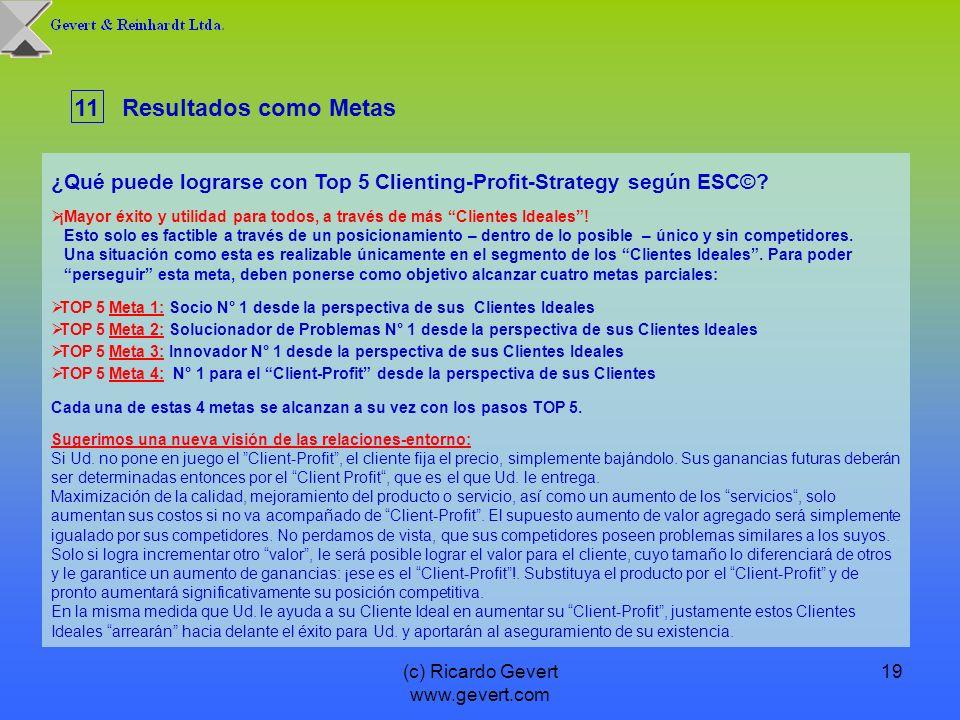 (c) Ricardo Gevert www.gevert.com 19 ¿Qué puede lograrse con Top 5 Clienting-Profit-Strategy según ESC©? ¡Mayor éxito y utilidad para todos, a través