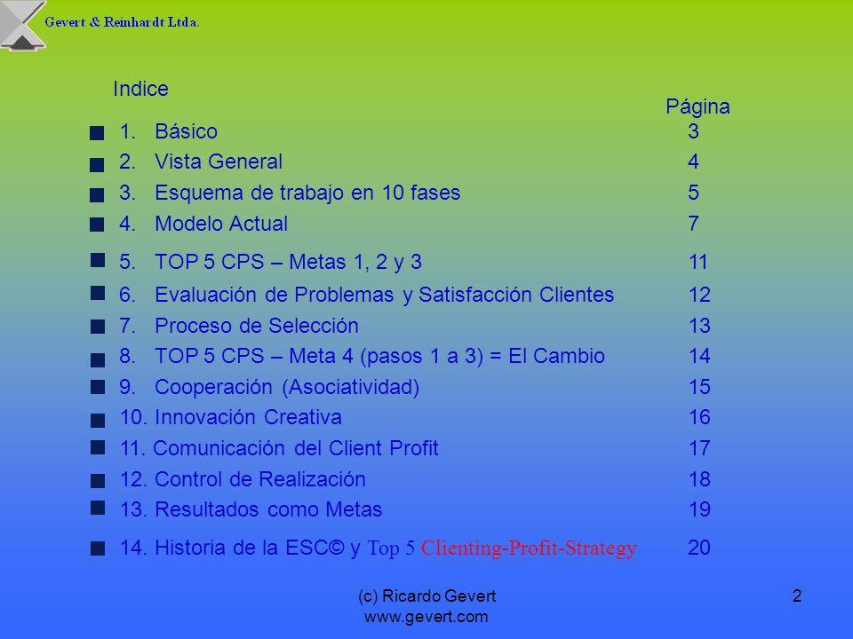 (c) Ricardo Gevert www.gevert.com 2 Indice 1. Básico 3 2. Vista General4 3. Esquema de trabajo en 10 fases 5 4. Modelo Actual7 5. TOP 5 CPS – Metas 1,