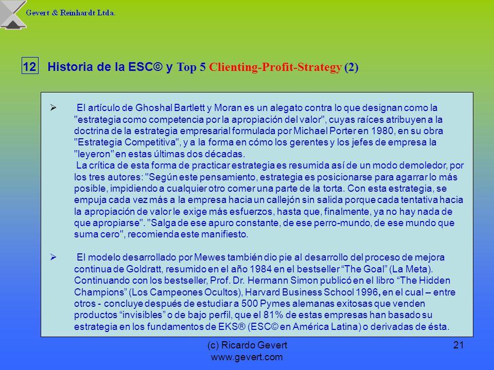 (c) Ricardo Gevert www.gevert.com 21 12Historia de la ESC© y Top 5 Clienting-Profit-Strategy (2) El artículo de Ghoshal Bartlett y Moran es un alegato