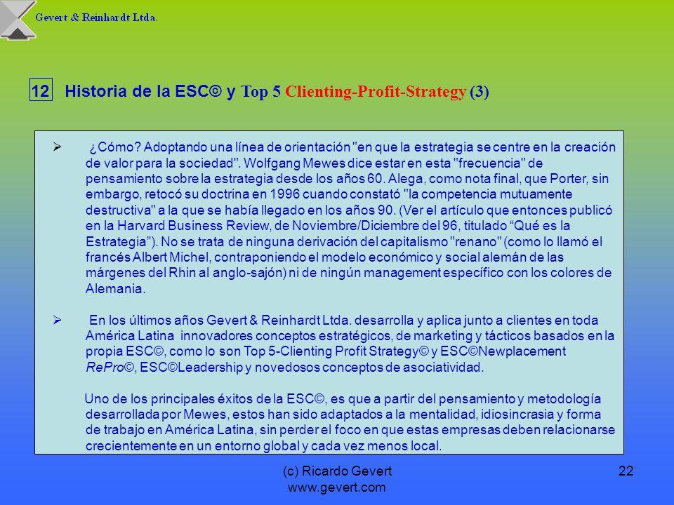 (c) Ricardo Gevert www.gevert.com 22 12Historia de la ESC© y Top 5 Clienting-Profit-Strategy (3) ¿Cómo? Adoptando una línea de orientación