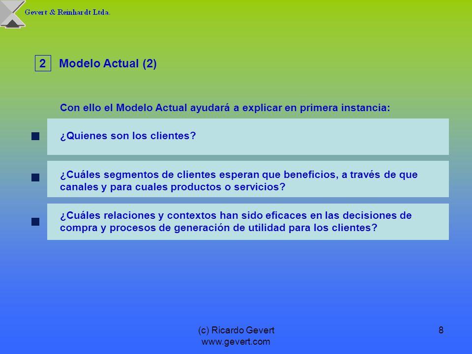 (c) Ricardo Gevert www.gevert.com 8 ¿Cuáles segmentos de clientes esperan que beneficios, a través de que canales y para cuales productos o servicios?