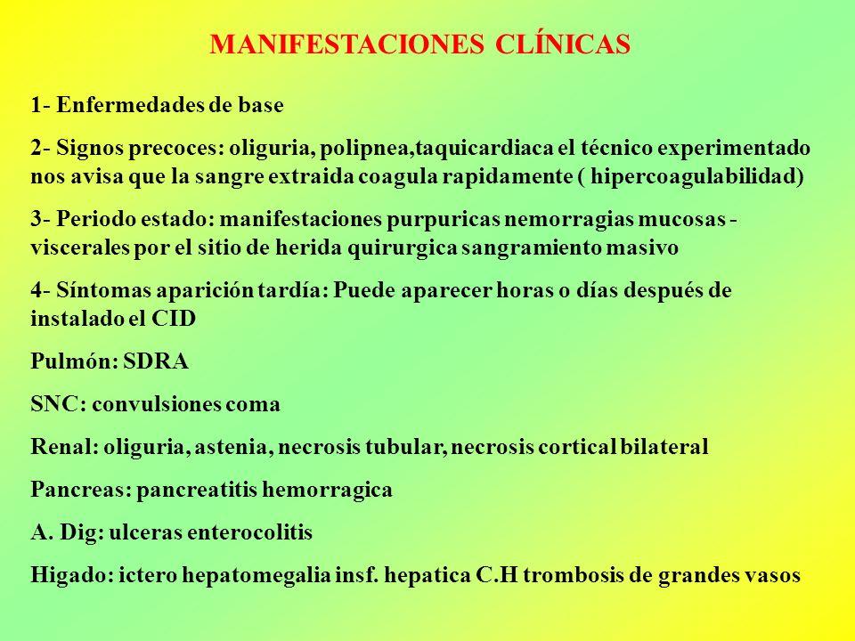 MANIFESTACIONES CLÍNICAS 1- Enfermedades de base 2- Signos precoces: oliguria, polipnea,taquicardiaca el técnico experimentado nos avisa que la sangre