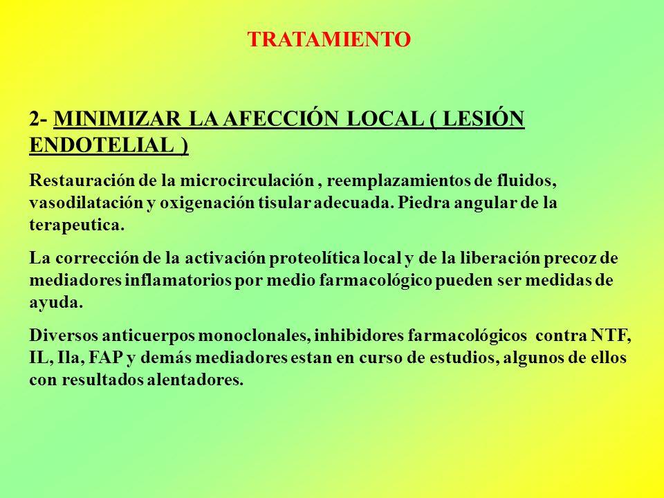 TRATAMIENTO 2- MINIMIZAR LA AFECCIÓN LOCAL ( LESIÓN ENDOTELIAL ) Restauración de la microcirculación, reemplazamientos de fluidos, vasodilatación y ox