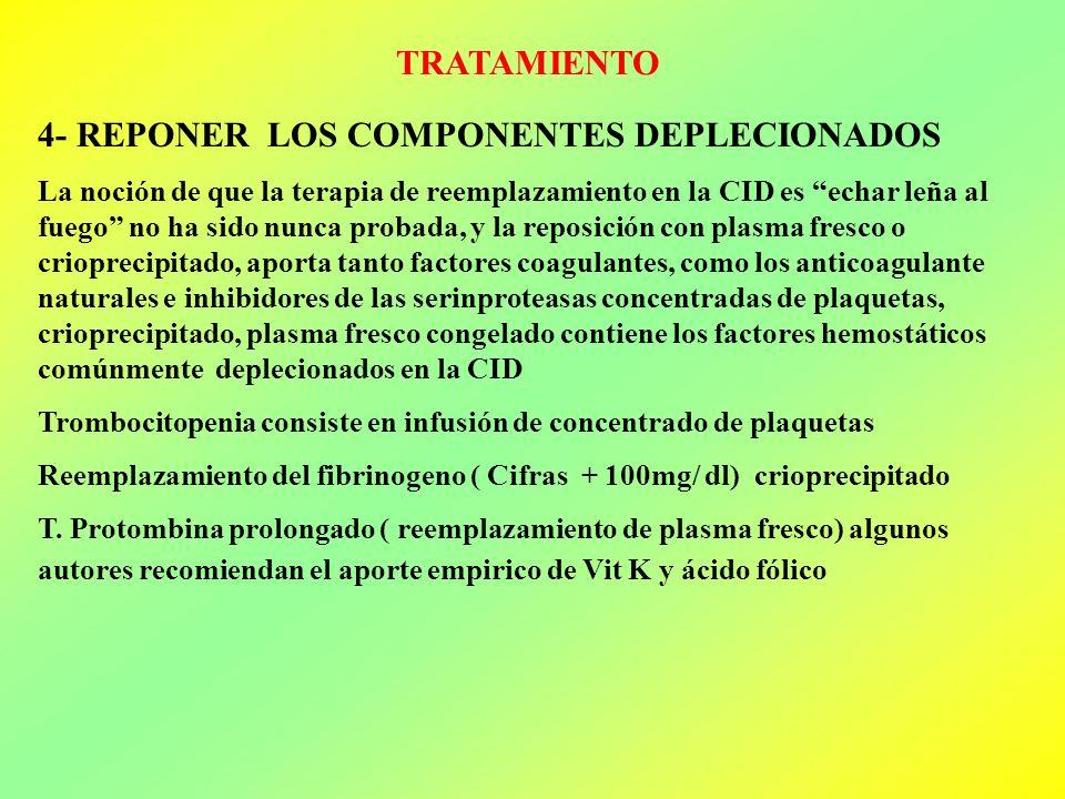 TRATAMIENTO 4- REPONER LOS COMPONENTES DEPLECIONADOS La noción de que la terapia de reemplazamiento en la CID es echar leña al fuego no ha sido nunca