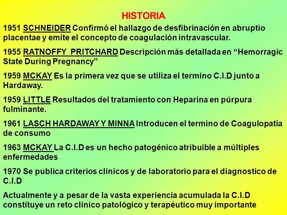 HISTORIA 1951 SCHNEIDER Confirmó el hallazgo de desfibrinación en abruptio placentae y emite el concepto de coagulación intravascular. 1955 RATNOFFY P