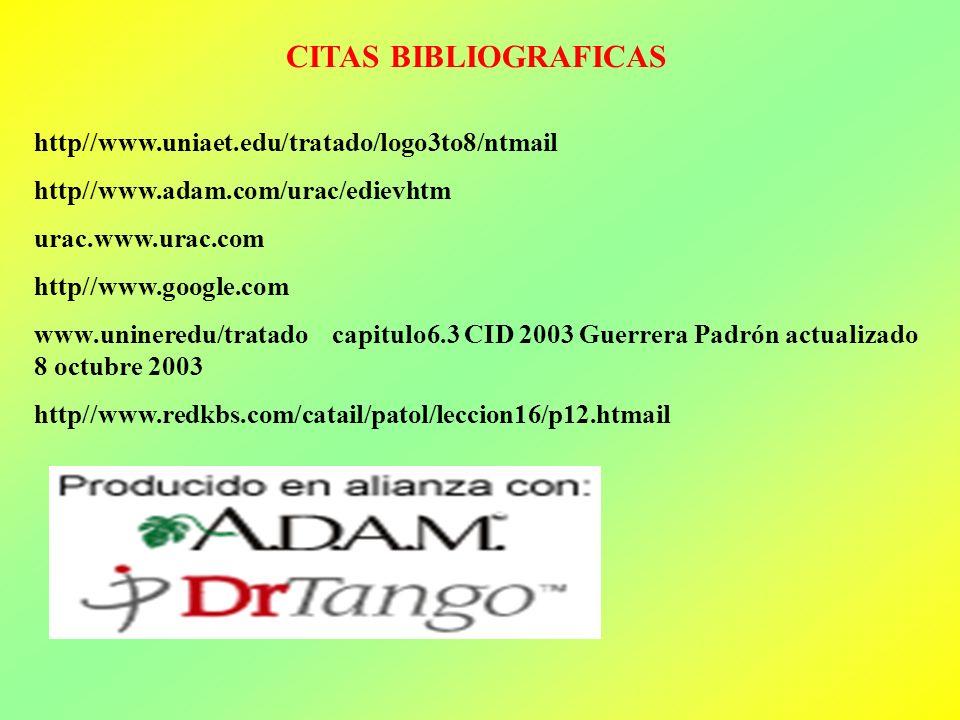 CITAS BIBLIOGRAFICAS http//www.uniaet.edu/tratado/logo3to8/ntmail http//www.adam.com/urac/edievhtm urac.www.urac.com http//www.google.com www.uninered