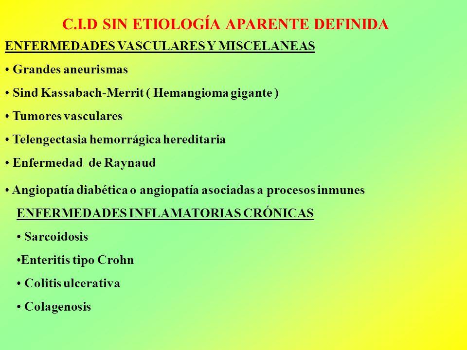 C.I.D SIN ETIOLOGÍA APARENTE DEFINIDA ENFERMEDADES VASCULARES Y MISCELANEAS Grandes aneurismas Sind Kassabach-Merrit ( Hemangioma gigante ) Tumores va