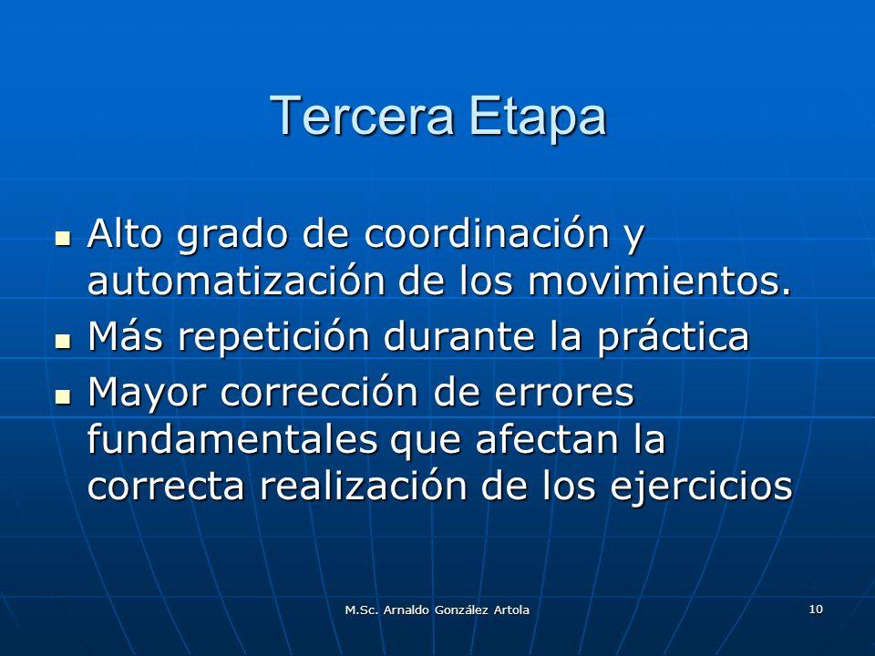 M.Sc. Arnaldo González Artola 10 Tercera Etapa Alto grado de coordinación y automatización de los movimientos. Alto grado de coordinación y automatiza