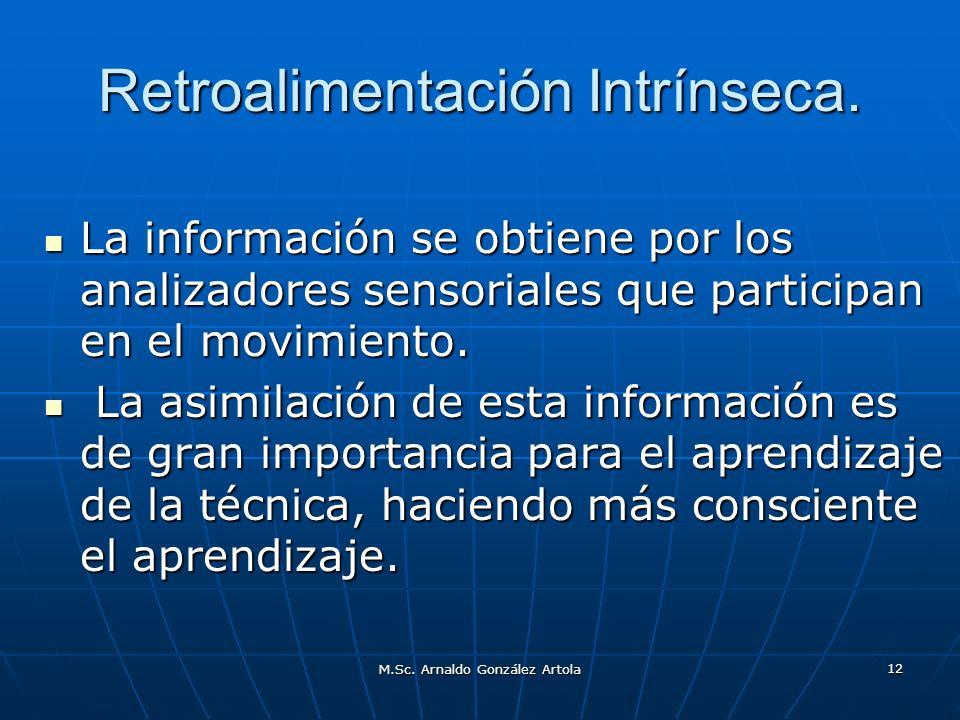 M.Sc. Arnaldo González Artola 12 Retroalimentación Intrínseca. La información se obtiene por los analizadores sensoriales que participan en el movimie