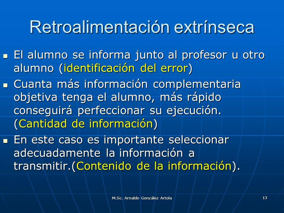 M.Sc. Arnaldo González Artola 13 Retroalimentación extrínseca El alumno se informa junto al profesor u otro alumno (identificación del error) El alumn
