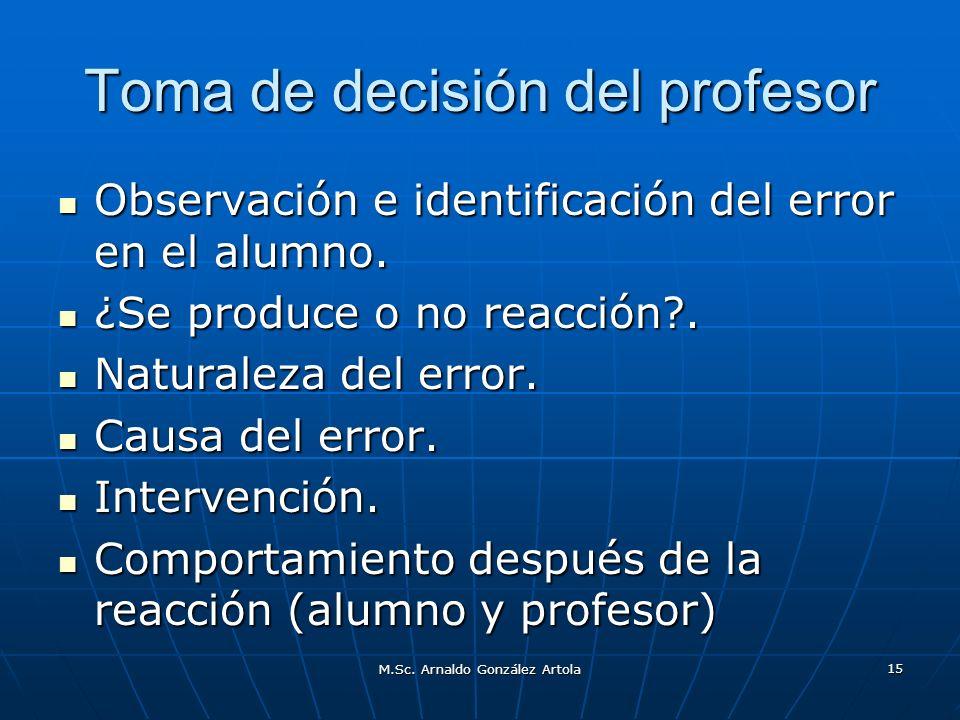 M.Sc. Arnaldo González Artola 15 Toma de decisión del profesor Observación e identificación del error en el alumno. Observación e identificación del e