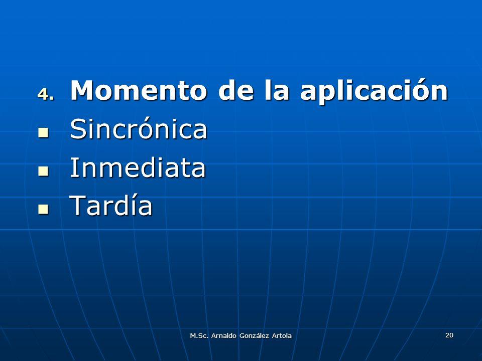 M.Sc. Arnaldo González Artola 20 4. Momento de la aplicación Sincrónica Sincrónica Inmediata Inmediata Tardía Tardía