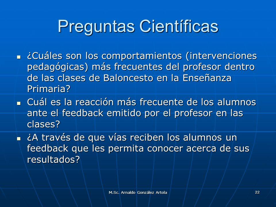 M.Sc. Arnaldo González Artola 22 Preguntas Científicas ¿Cuáles son los comportamientos (intervenciones pedagógicas) más frecuentes del profesor dentro