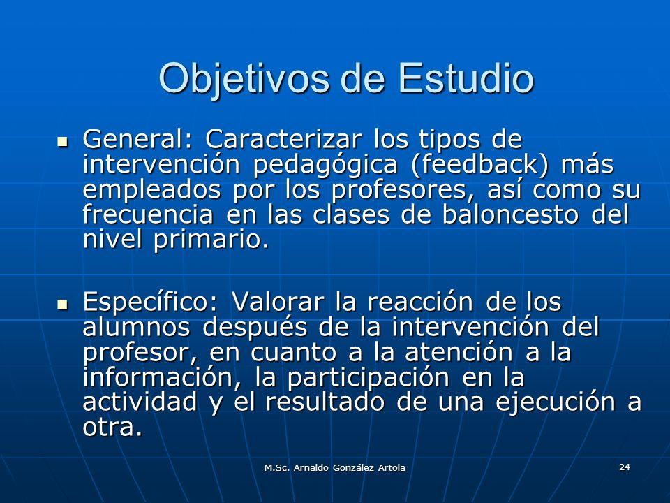 M.Sc. Arnaldo González Artola 24 Objetivos de Estudio General: Caracterizar los tipos de intervención pedagógica (feedback) más empleados por los prof