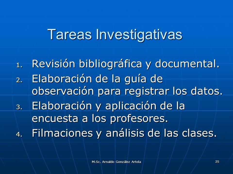 M.Sc. Arnaldo González Artola 25 Tareas Investigativas 1. Revisión bibliográfica y documental. 2. Elaboración de la guía de observación para registrar
