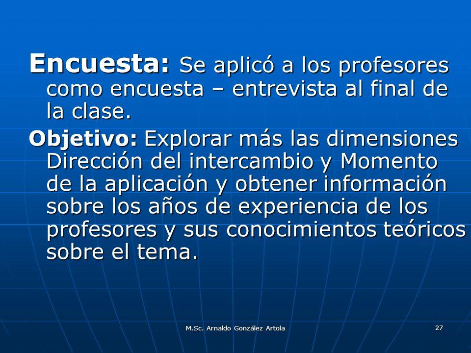 M.Sc. Arnaldo González Artola 27 Encuesta: Se aplicó a los profesores como encuesta – entrevista al final de la clase. Objetivo: Explorar más las dime