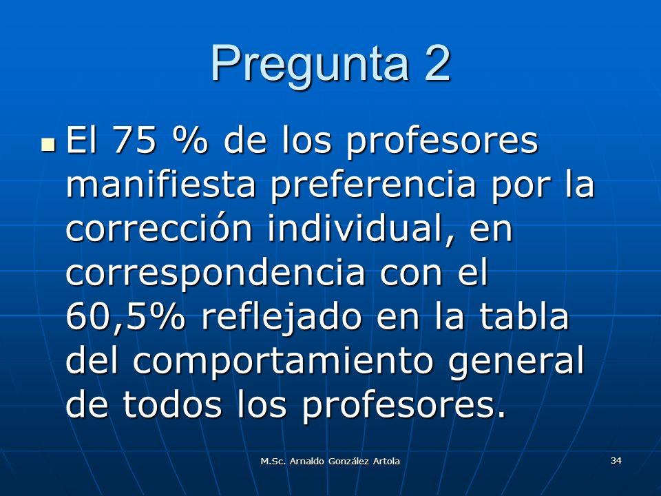 M.Sc. Arnaldo González Artola 34 Pregunta 2 El 75 % de los profesores manifiesta preferencia por la corrección individual, en correspondencia con el 6