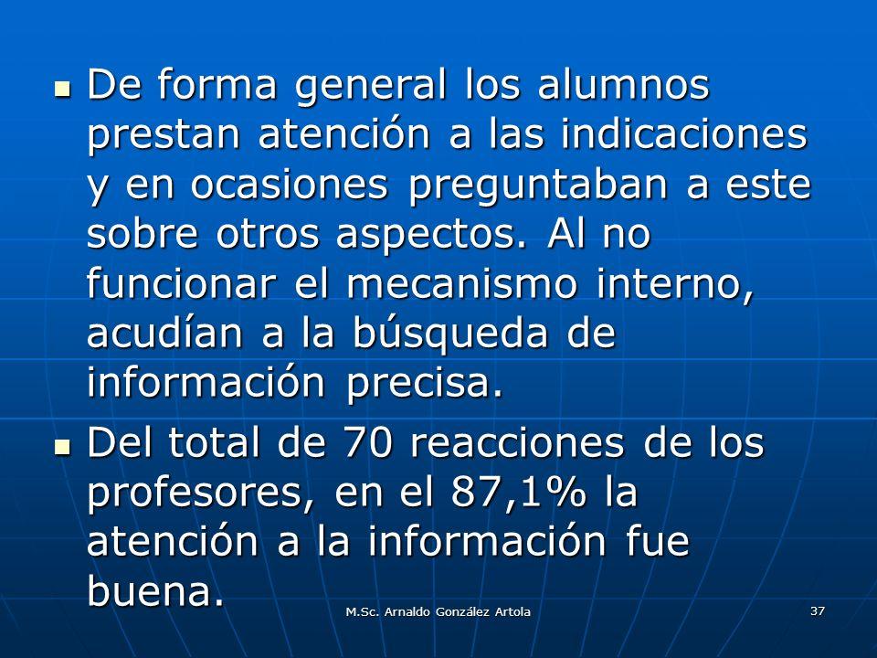 M.Sc. Arnaldo González Artola 37 De forma general los alumnos prestan atención a las indicaciones y en ocasiones preguntaban a este sobre otros aspect