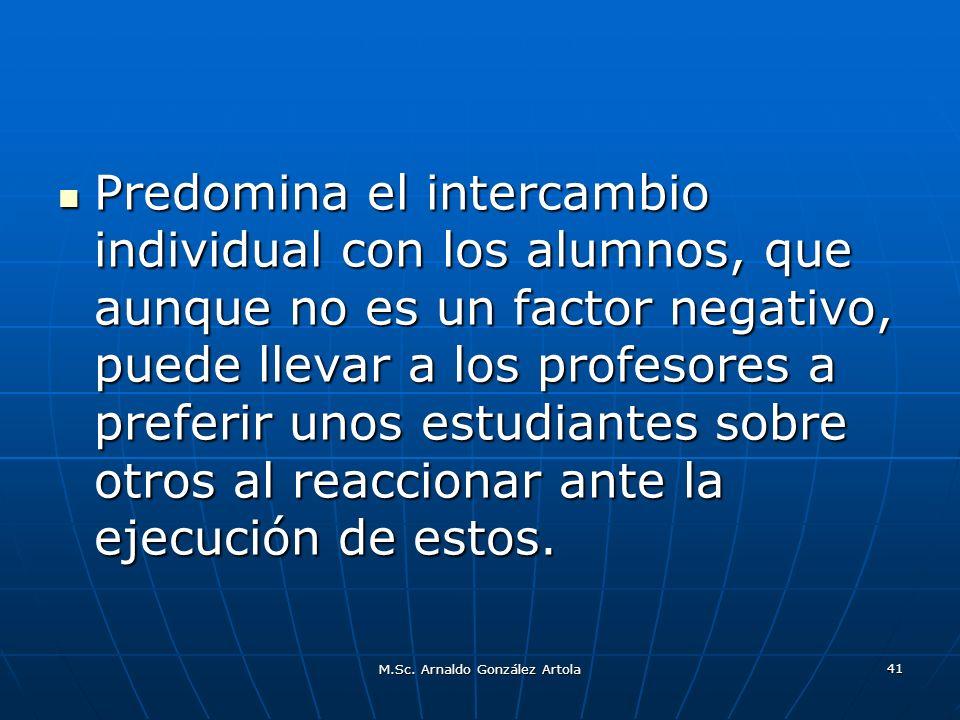 M.Sc. Arnaldo González Artola 41 Predomina el intercambio individual con los alumnos, que aunque no es un factor negativo, puede llevar a los profesor