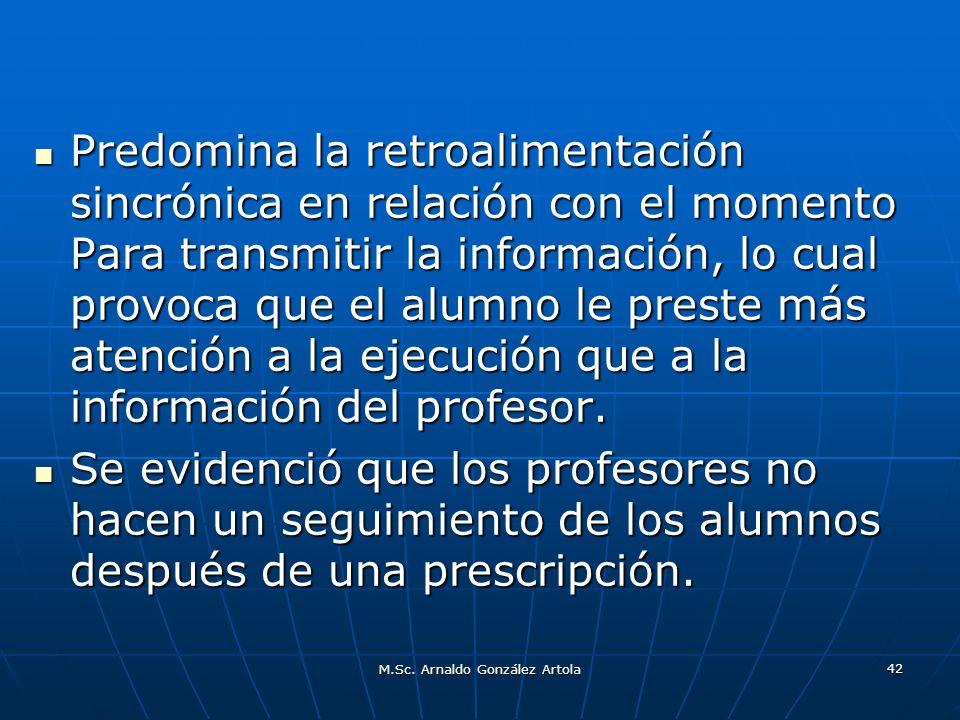 M.Sc. Arnaldo González Artola 42 Predomina la retroalimentación sincrónica en relación con el momento Para transmitir la información, lo cual provoca