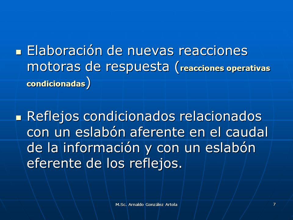 M.Sc. Arnaldo González Artola 7 Elaboración de nuevas reacciones motoras de respuesta ( reacciones operativas condicionadas ) Elaboración de nuevas re