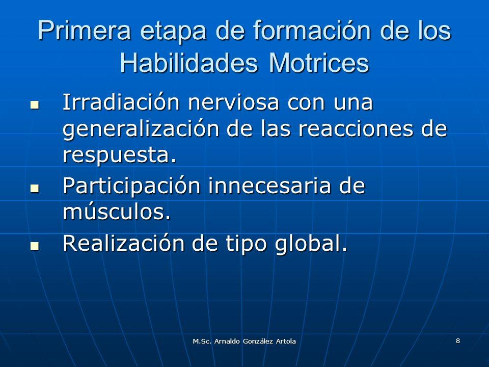 M.Sc. Arnaldo González Artola 8 Primera etapa de formación de los Habilidades Motrices Irradiación nerviosa con una generalización de las reacciones d