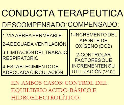 CONDUCTA TERAPEUTICA DESCOMPENSADO: COMPENSADO: 1-VÍA AÉREA PERMEABLE 2-ADECUADA VENTILACIÓN 3-LIMITACIÓN DEL TRABAJO RESPIRATORIO 4-ESTABLECIMIENTO D