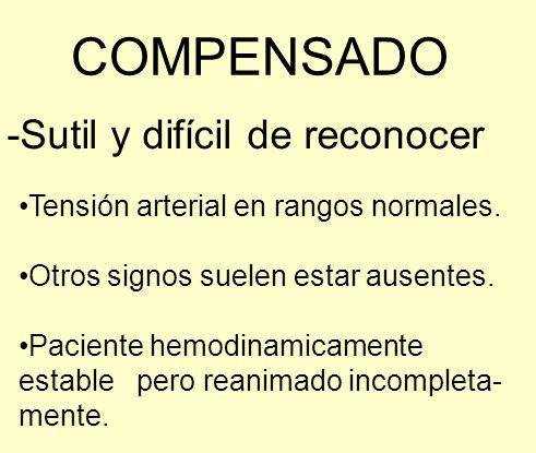 COMPENSADO -Sutil y difícil de reconocer Tensión arterial en rangos normales. Otros signos suelen estar ausentes. Paciente hemodinamicamente estable p