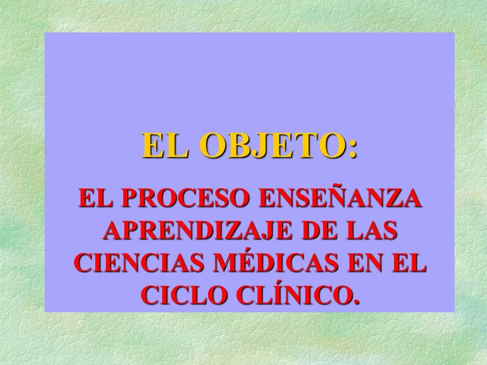 EL OBJETO: EL PROCESO ENSEÑANZA APRENDIZAJE DE LAS CIENCIAS MÉDICAS EN EL CICLO CLÍNICO.
