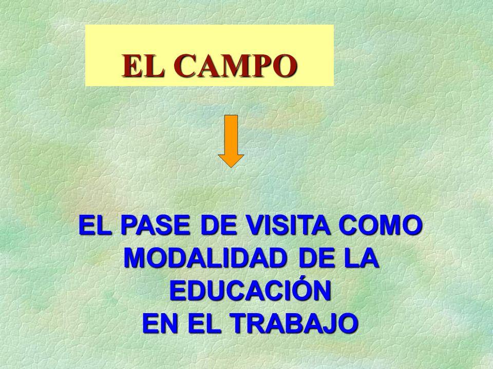 EL CAMPO EL PASE DE VISITA COMO MODALIDAD DE LA EDUCACIÓN EN EL TRABAJO