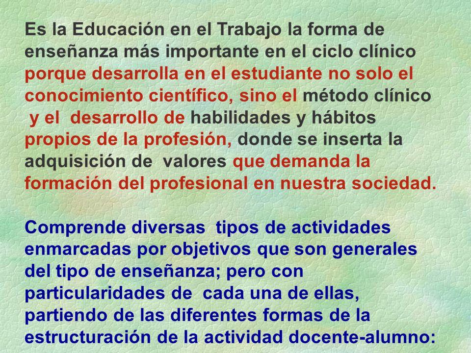 Es la Educación en el Trabajo la forma de enseñanza más importante en el ciclo clínico porque desarrolla en el estudiante no solo el conocimiento cien