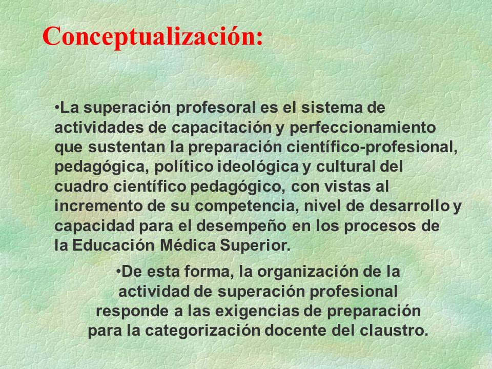 Conceptualización: La superación profesoral es el sistema de actividades de capacitación y perfeccionamiento que sustentan la preparación científico-p