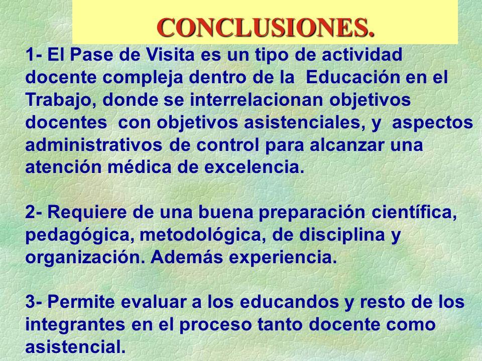 CONCLUSIONES. 1- El Pase de Visita es un tipo de actividad docente compleja dentro de la Educación en el Trabajo, donde se interrelacionan objetivos d
