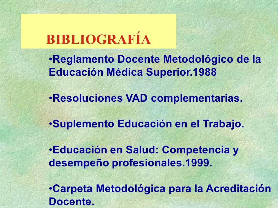 BIBLIOGRAFÍA Reglamento Docente Metodológico de la Educación Médica Superior.1988 Resoluciones VAD complementarias. Suplemento Educación en el Trabajo